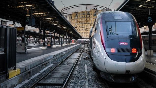 Un train de la SNCF à l'arrêt, dans une gare désertée par ses usagers.