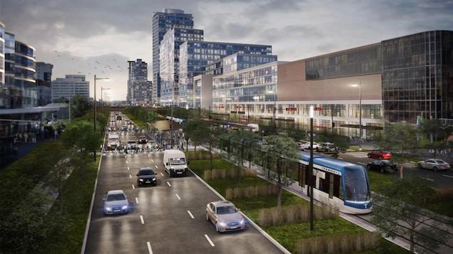 Le tramway circulera au centre du boulevard Laurier, dans le secteur Sainte-Foy.