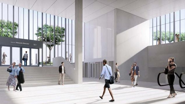 Maquette conceptuelle de l'intérieur de la station. Elle sera construite de verre et de béton blanc, lui donnant un aspect très grand et lumineux.