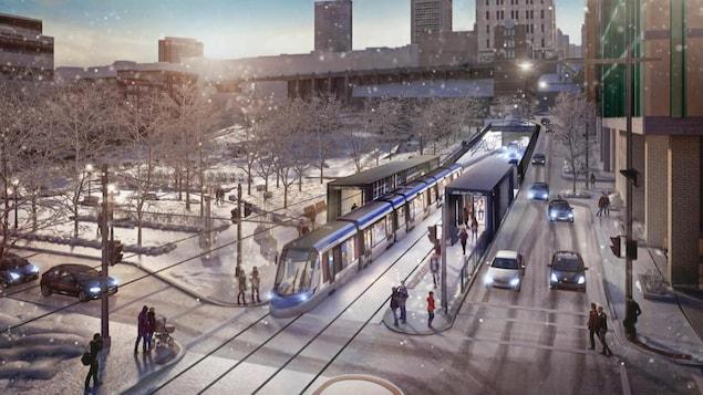 Croquis du projet de tramway à Québec.