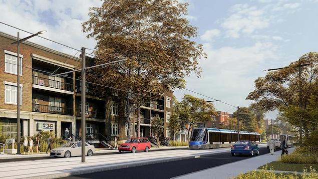 Esquisse du futur tramway de Québec