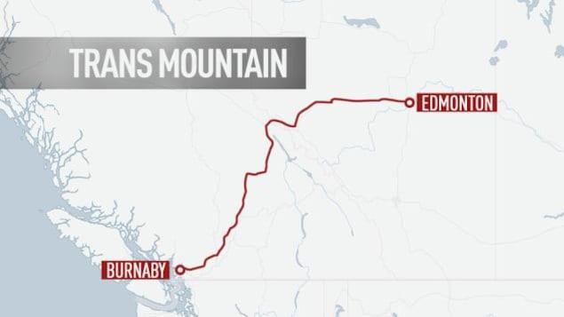Carte montrant le tracé entre Edmonton et Burnaby