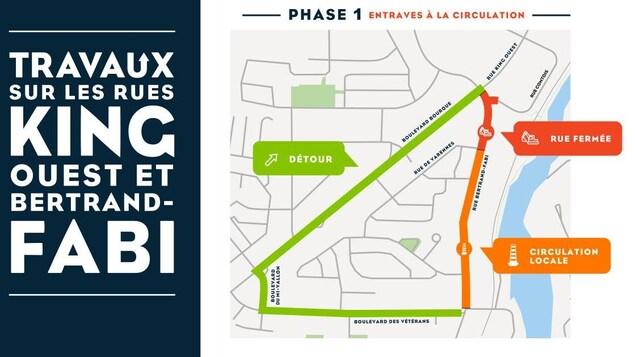 La carte des travaux routiers dans le secteur Bertrand-Fabi