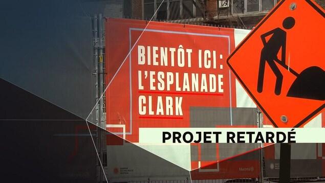 Vu du site de l'Esplanade Clark, dans le centre-ville de Montréal, toujours en construction.