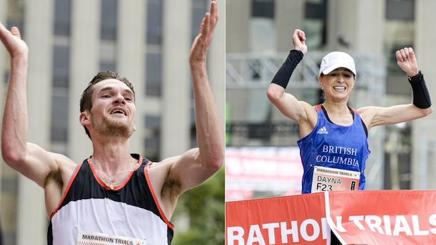 Deux coureurs célèbrent en franchissant le fil d'arrivée du marathon.
