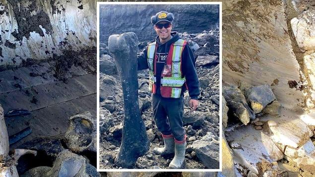 Trey Charlie pose avec un os qui pourrait être celui d'un mammouth.