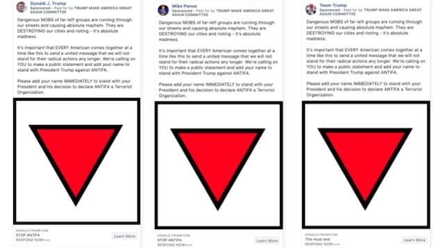 Impressions d'écran des publicités montrant des triangles rouges inversés sur les pages Facebook de Donald Trump, Mike Pence et de l'équipe de campagne de réélection du président.