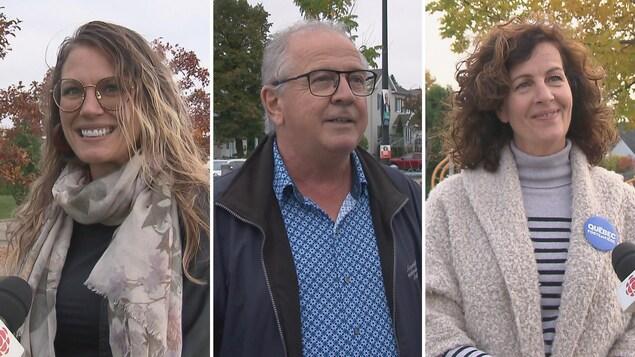 Montage photo des trois candidats en entrevue.