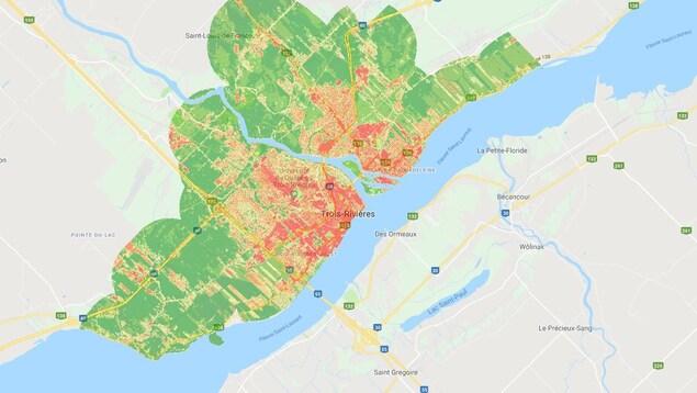 Visuel des îlots de chaleur sur le secteur de Trois-Rivières.