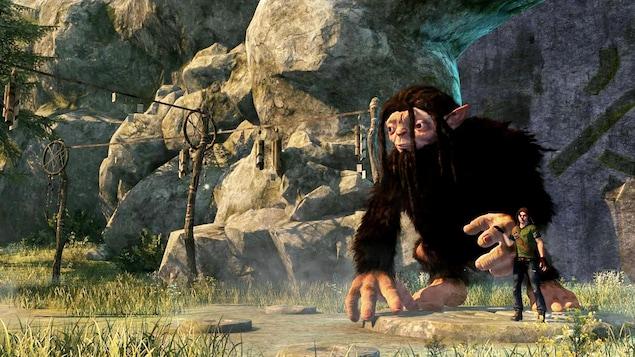 Le Bigfoot et le jeune héro sont devant une grotte et on peut lire sur leur visage la crainte d'être retrouvés par les chasseurs.