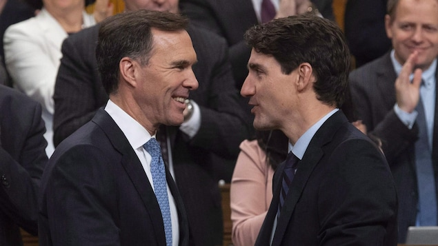 Le ministres des Finances Bill Morneau en compagnie de son patron, le premier ministre Justin Trudeau.