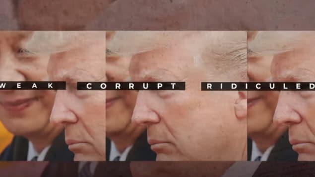 Il est écrit weak, corrupt et ridiculed sur le visage de Donald Trump.