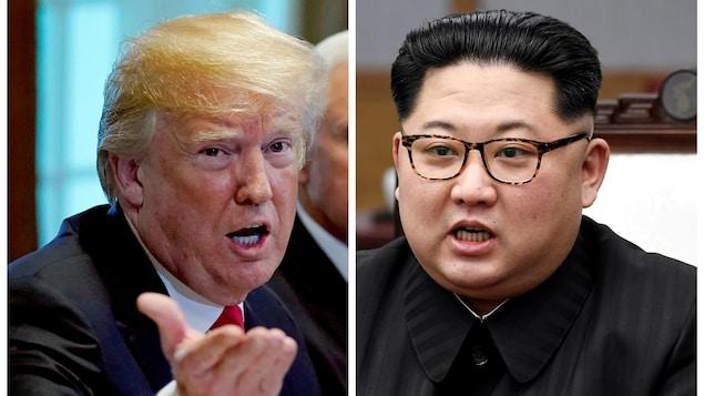 Une photo montage du président américain Donald Trump et du dirigeant nord-coréen Kim Jong Un