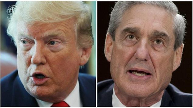 Montage photo de Donald Trump, regardant vers la droite, et Robert Mueller, regardant devant lui, en gros plan