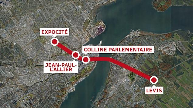 Le tracé du tunnel Québec-Lévis sur un fond de carte Google Earth. Le tunnel partirait d'Expocité, passerait par le centre-ville de Québec et déboucherait au centre-ville de Lévis.
