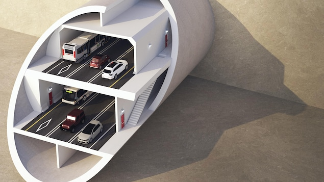 Le tunnel sera aménagé sur deux étages avec un total de six voies de circulation, dont deux réservées au transport en commun.