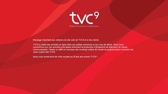 Ce message apparaît sur la page des petites annonces et de la nécrologie sur le site web de TVC9.