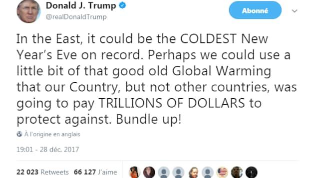 Un tweet du président américain Donald Trump