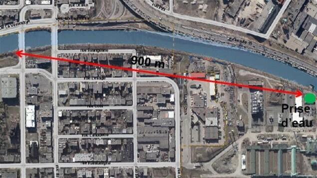 Plan du projet de canalisation pour protéger la prise d'eau de l'usine Atwater à Montréal
