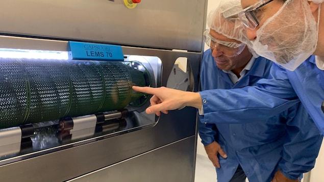 Dans la salle d'encapsulation, Michel Timperio, président de la division cannabis et Étienne Villeneuve, chef des opérations et services techniques chez Neptune observent le procédé pour le scellage des capsules.