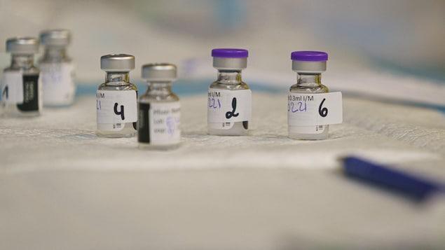 Des fioles de vaccin sont posées sur une table.
