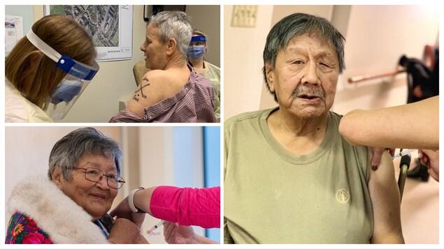 Montage de trois photos de vaccinés.