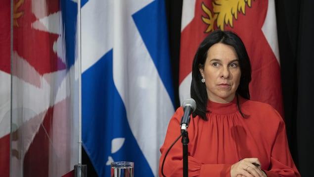 Valérie Plante en conférence de presse.