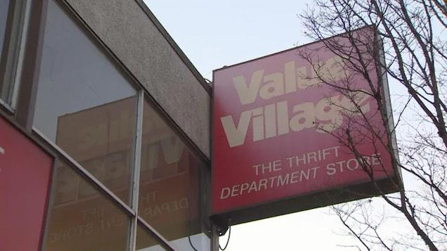 L'affiche de la friperie Value Village.