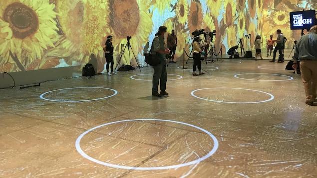Des cercles sont projetés au sol par des projecteurs. Les murs sont tapissés de fleurs de tournesol.