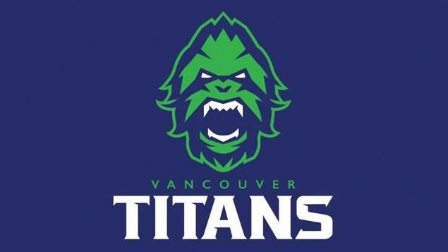 Logo de l'équipe des Titans de Vancouver en bleu, vert et blanc, arborant la tête d'un Sasquatch aux dents acérées.