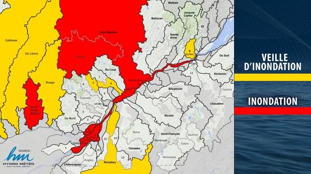 Les régions touchées par une veille d'inondations