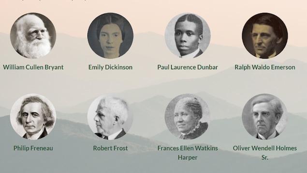 Image montrant huit grands poètes et poétesses qui ont marqué la littérature américaine.