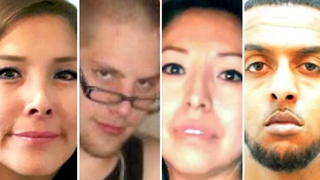 Un montage photo avec le visage des quatre victimes. De gauche à droite: une femme d'origine asiatique, un homme avec des lunettes, une autre femme d'origine asiatique et un homme basané.