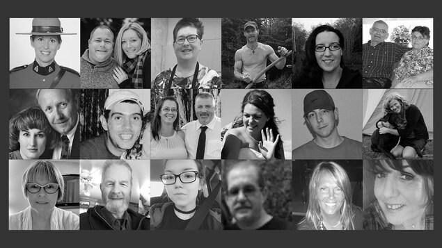 Un montage de photos en noir et blanc des visages disparus lors de la tragédie.