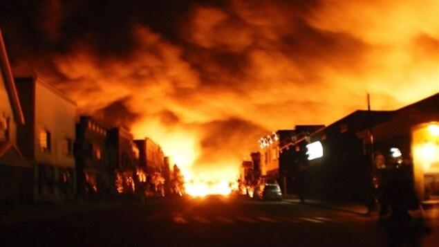 Incendie dans la ville de Mégantic.