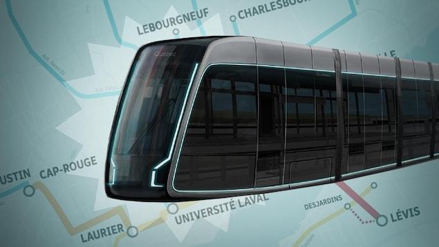 Montage d''une image du tramway devant la carte du réseau de transport structurant.