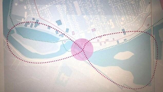 Carte avec un trajet qui a la forme d'un noeud papillon.