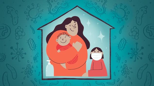 Illustration d'une mère avec un bébé et un enfant dans le cadre d'une maison. En dehors de celle-ci, des virus de toutes sortes entourent la maison.