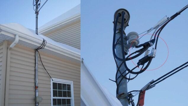 Une installation de vol d'électricité détectée à Lévis en février 2018 : des câbles de survoltage avaient été installés directement sur la ligne électrique, puis reliés à l'intérieur d'une résidence en contournant le compteur.