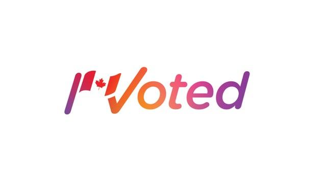L'inscription « I Voted » aux couleurs d'Instagram et avec un drapeau du Canada.