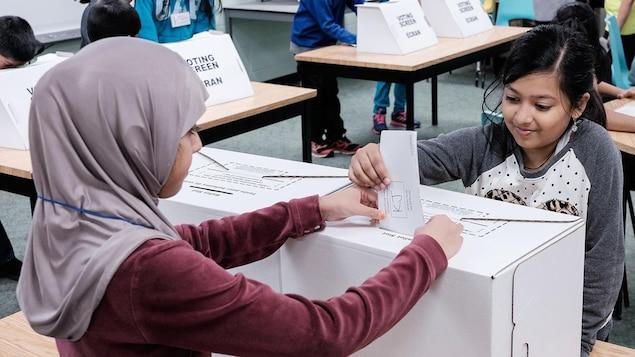 Deux fillettes devant une urne de vote.