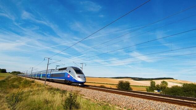 Un train défile sous un ciel bleu