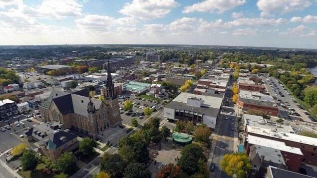 Vue aérienne de Drummondville.