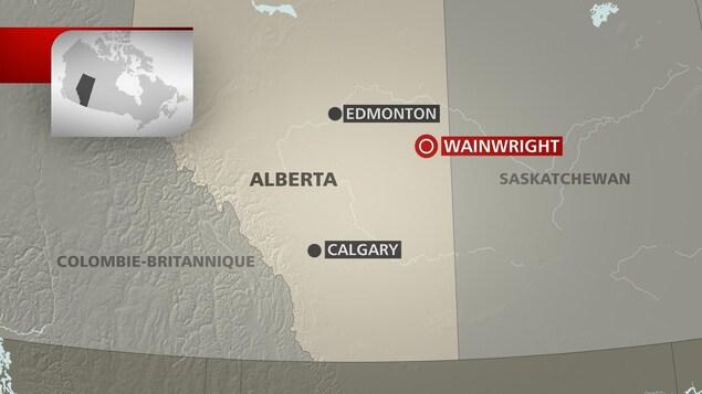 La base militaire de Wainwright est située à environ 200 km au sud-est d'Edmonton, près de la frontière avec la Saskatchewan.