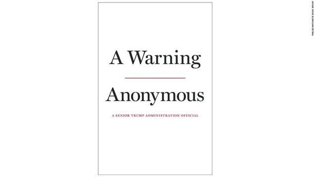 La couverture du livre A Warning est blanche, sans image, et on y lit : « Un avertissement, [auteur] anonyme, un haut responsable de l'administration Trump »