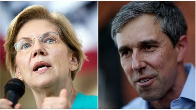 Montage photo d'Elizabeth Warren et de Beto O'Rourke en gros plan.