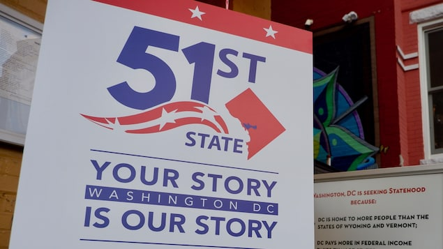 Une publicité faisant la promotion du changement de statut du District de Columbia.