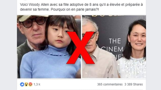 Une publication Facebook montre deux photos de Woody Allen, l'une avec sa fille et l'autre avec sa femme, en prétendant faussement qu'il aurait épousé sa fille.