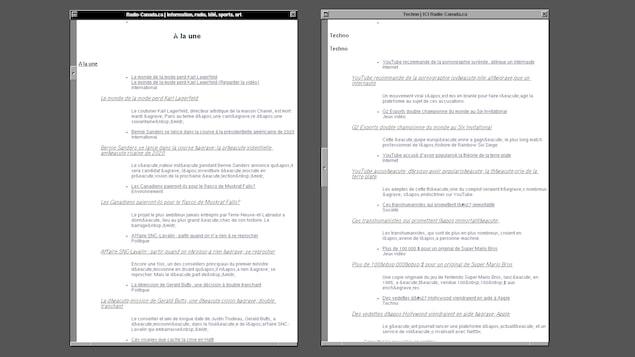 Une capture d'écran montrant deux pages web contenant uniquement du texte. Les pages affichent respectivement la page d'accueil de Radio-Canada et la page de Radio-Canada Techno.