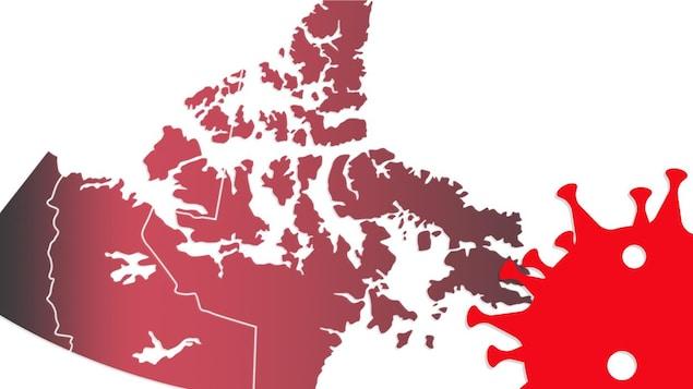 Une carte géographique des trois territoires derrière une illustration du virus de la COVID-19.